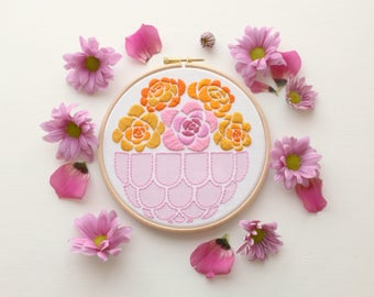 Ringelblume Blume Stickerei Kit. Sommer-Blumen-Stickerei-Design. Flowers.DIY im Stickrahmen. Bastelset. Wohnkultur. Muttertag. Blooms.Needlecraft