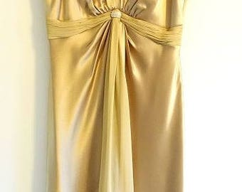 Vintage gold satin chiffon cocktail dress, Jones New York size 6 satin chiffon dress, gold satin bridesmaid dress