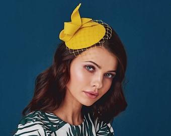 Yellow Lemon Wool Felt  Fascinator, Mini Hat with the Veil, Wedding fascinator