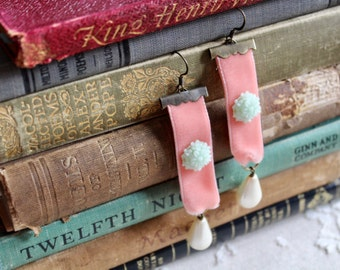 Pink coral velvet earrings with mint chrysanthemum and ivory drop pearls, Shelley Lane