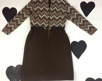 60s / 70s Brown Circle Zip Front Dress / Diamond Pattern / Zig Zag / Ombre / Neutrals / Folk / Fall / Long Sleeve / Mod / Large / Poly