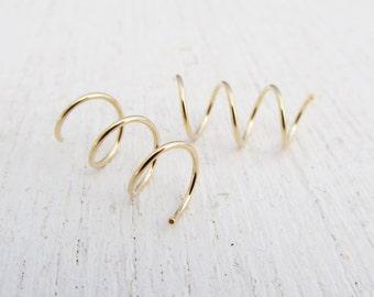 7 mm Hoops for 3 Side by Side Ear Piercings in 14/20 Gold Filled / Triple Hoop Earrings / Yellow Gold Filled Earrings / Small Spiral Hoops