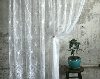Vintage White Lace Curtain / Panel