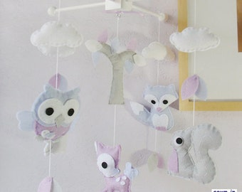 Baby Mobile, Nursery Decor, Woodland Mobile, Animals Mobile, Ceiling Hanging Mobile, Neutral Mobile, Purple Gray White