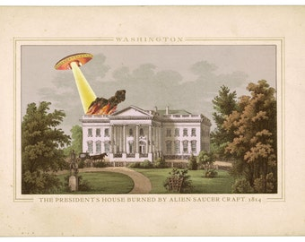 White House, Washington DC, UFO art, Digital Print, Art, Alternate Histories, Geekery, Flying Saucer