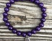 """Purple Stone Stretch Bracelet with """"CREATE"""" Charm"""