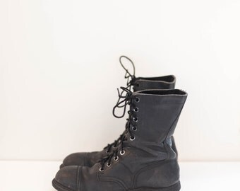 black leather lace up combat boots - grunge work boots - men's size 8