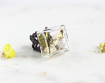 SALE Flower Ring | Adjustable Purple Glass Ring | Purple Flower Ring | Flower Dance