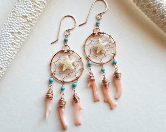 Coral Dream Catcher Earrings, Starfish Hoop Earrings, Turquoise Dream Catchers, Woven Hoop Earrings, Small Dream Catcher Hoops