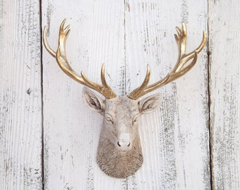 Deer Head Wall Art~Animal Head~Woodland Nursery~ Deer Head~Small Faux Taxidermy~Stag~Deer Decor