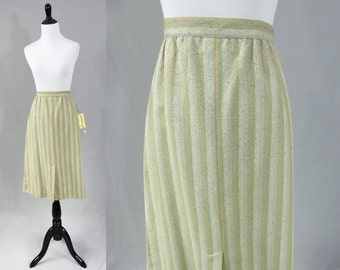 "80s Silk Skirt - Deadstock Unworn w/ Tags - Soft Green Cream Peach Stripes - Roth le Cover Sport - Vintage 1980s - 30"" waist"