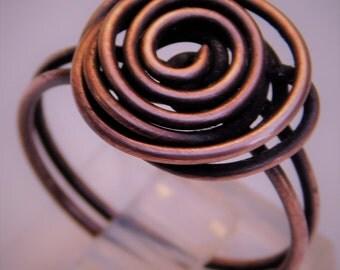 Copper Rose Ring, Copper Vintage Rose Ring, Antique Rose Ring, Rosette ring, Rosette Copper ring, Rose flower ring, flower ring, copper ring