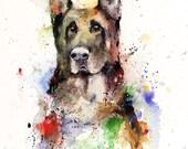 GERMAN SHEPHERD Original Watercolor Painting by Dean Crouser