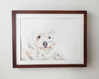 Custom Poodle Portrait, Pet Loss Gift, Dog Memorial Portrait, Sympathy Gift, Original Watercolor Dog Portrait