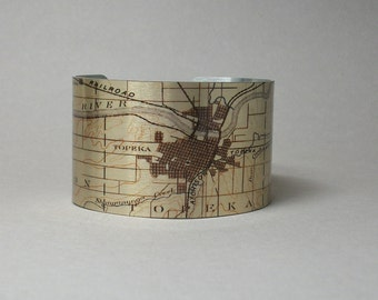 Topeka Kansas Cuff Bracelet Unique Map Hometown City Gift for Men or Women