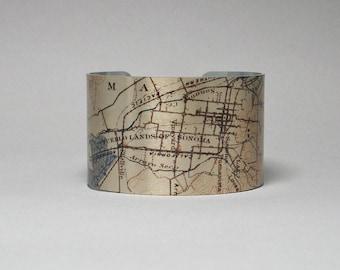 Sonoma Napa Valley California Vintage Map Cuff Bracelet Unique Gift for Men or Women