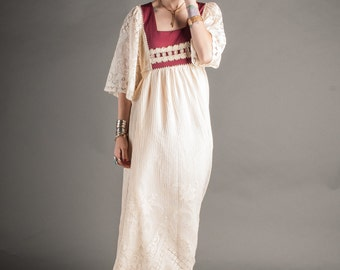 Ivory Wing Sleeve Prarie Maxi Dress