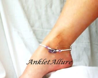 Beach Anklet Purple Flip Flop Anklet Beach Body Jewelry Amythest Ankle Bracelet Body Jewelry Foot Jewelry