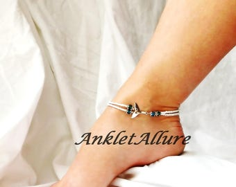 Dophin Anklet Beach Ankle Bracelet Dolphin Tail Jewelry Crystal Cruise Accessories Whale Tail Jewelry