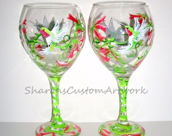 Humming Birds and Red Honey Suckle Vine Hand Painted Wine Glasses Set of 2 - 20 oz. Mothers Day, Sister Gift Red Wine Goblets Glassware