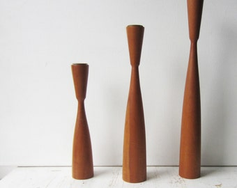 Vintage Mid Century Modern Candlestick Holder Set - Turned Wood - Danish Modern