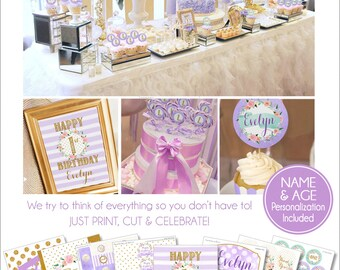 1st Birthday Decorations | First Birthday Party Printables | Purple and Gold Ladies Birthday Party | Adult Teen Birthday | Amanda's Parties