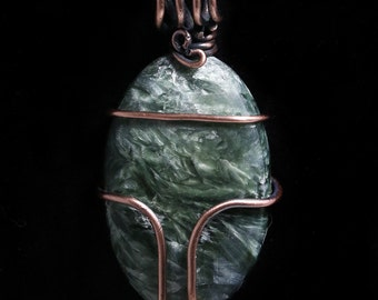 Seraphinite and Copper Pendant