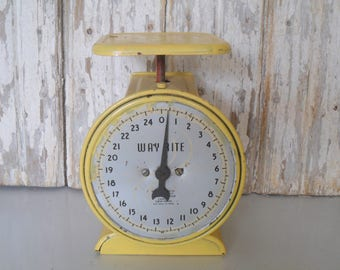 Vintage Metal Scale, Kitchen Scale, Antique Family Scale, Yellow Scale, Way Rite Scale, Way Rite Scale, Hanson Scale
