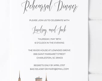 Charleston South Carolina Wedding Rehearsal Dinner Invitations Charleston Skyline with Ravenel Bridge Charleston Wedding SC Wedding Invites