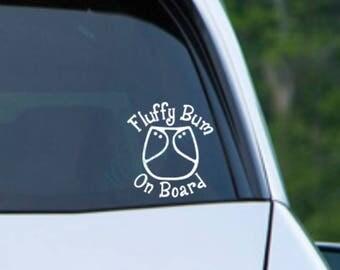Fluffy Bum On Board - Car decal cloth diaper decal