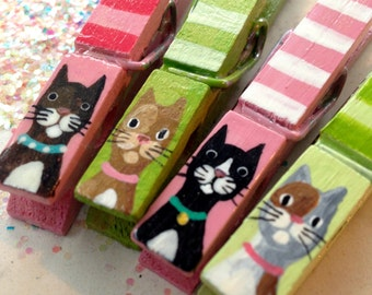 STRIPED CAT CLOTHESPINS painted magnetic pegs pink and green