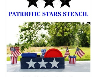 Patriotic STARS Vintage Sign Stencil 4th of July, Holiday, Memorial Day, home decor DIY stenciling