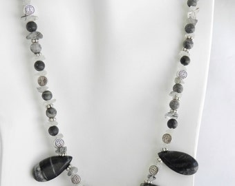 Gray and Black Picasso Marble Necklace and Earring Set with Tourmilated Quartz