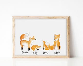 Fox Family Portrait - Custom Family Tree Print - Nursery Wall Art - Personalised Family Portrait - A4 Fox Family Art Print