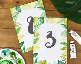 Tropical Wedding Table Number Cards - Rustic Wedding Number Cards - Spring Wedding Stationery - Table Number Cards - Wedding Number Stands