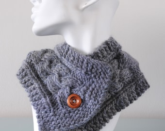 Light Grey Neckwarmer - Knitted Collar Short Scarf Chunky Merino Wool Cable Scarflette Button Winter Gift for Her by Emma Dickie Design