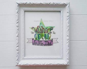 WISH, 8x10 Art Print, Watercolor and Ink, Uplifting Quote, Infant Nursery, Baby Girl, Baby Boy Bedroom, Star Art