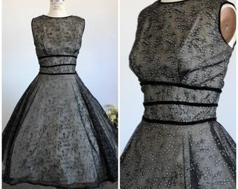 Vintage 1950s Black Fit and Flare Dress With Eyelet And Velvet Ribbon Trim / 50s New Look Illusion Dress / Full Circle Skirt Gothic Clothing