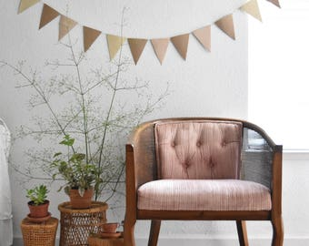 mid century blush pink tufted wood cane chair