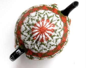 Autumnal knitted tea cosy , Fair isle Tea Pot Cosy , hand knitted in acrylic / wool mix  , knitted colourwork in orange / green