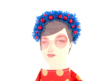 Decorative doll , Ooak art Doll , Flowers Crown , Original gift , for her , interior doll , fiber sculpture , girl textile doll , oneofakind