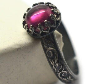 Engraved Pink Tourmaline Engagement Ring, Floral Gemstone Jewelry, Custom Engraving, Renaissance Style Oxidized Silver Band,
