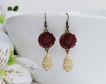 SALE - Burgundy Flower Earrings, Rose Teardrop Earrings, Dangle Earring, Vintage Bronze Earrings, Bridesmaid Gifts, Gift For Her
