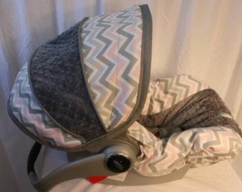 Grey White Pink Chevron with Charcoal minky-  Girl Infant car seat cover- Custom Order- Always comes with Free Strap Covers