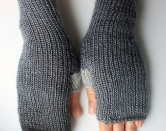 40% OFF Fingerless Gloves (Wrist Warmers, Fingerless Mittens, Fingerless Mitts) - Multicolor with gray shades
