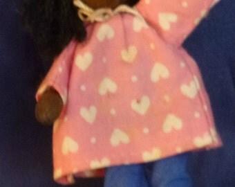 Vintage Wooden Folk Art Miniature Doll, 1980s