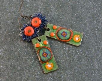 Bohemian Gypsy Earrings Boho Chic Earrings Artisan Earrings Copper Enameled Charms