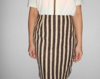 Vintage 1960s brown & cream wool knee-length skirt, size Small