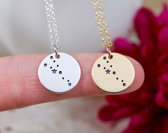 Taurus Constellation Necklace - Taurus Necklace in Sterling Silver or Bronze on 14K Gold Filled Chain