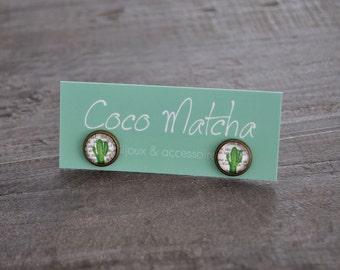 Clous fantaisie - Puces cactus - Cactus stud earrings - Cactus vert - Nature inspired jewelry - Coco Matcha